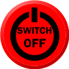 "Mock up 'Shutdown' button, containing the text ""switch off"" in a more standardised power symbol"