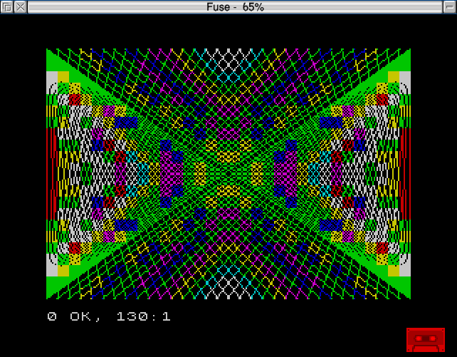 The results of running a simple graphics program written in Sinclair Basic on the Spectrum emulator