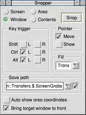 Snapper's main window, showing the full range of options