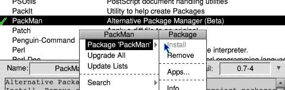 PackMan 0.7-4 is available, but 'Install' is greyed out
