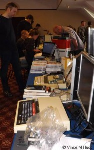 Looking down from one end of the Retro Hardware stand