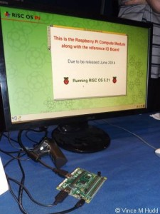 A Raspberry Pi Compute Module running RISC OS on the ROOL stand