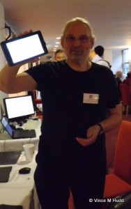 "Steve Drain holding up his RISC OS ""tablet"" at London 2015"