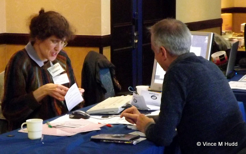 Hilary Phillips of Sine Nomine talking to a customer at Wakefield 2016