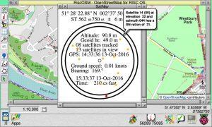 SatNav window showing GPS info, over a RiscOSM window plotting that location