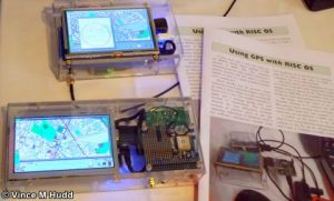 Chris Hall's Pi-based GPS devices on the Soft Rock Software stand at London 2016