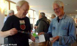 Jim Nagel handing Bernard Boase his copy of Archive at London 2016
