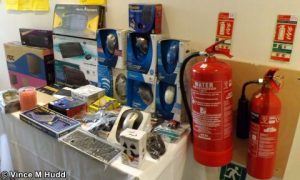 CJE Micro's even brought fire extinguishers... oh okay, maybe they were there already - London 2016
