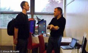 Steve Fryatt talking to a visitor at London 2016
