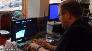 Peter Howkins playing Xeroid on the Amcog Games stand at London 2016