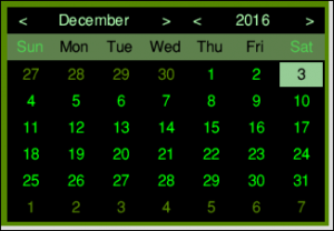 MiniTime's calendar display