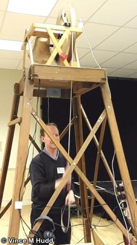 ROUGOL's Bryan Hogan ringing John Norris' bell at RISC OS Southwest 2017