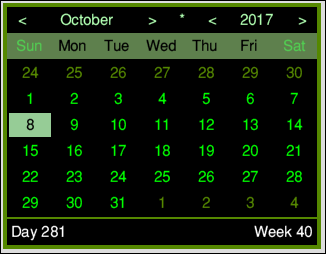 MiniTime's calendar and its flux capacitor button - the asterisk