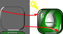 Drawing a glass button, step 7: Add side reflections