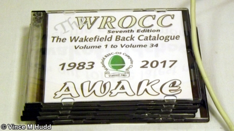The WROCC back catalogue CD being sold by Steve Fryatt at Southwest 2018