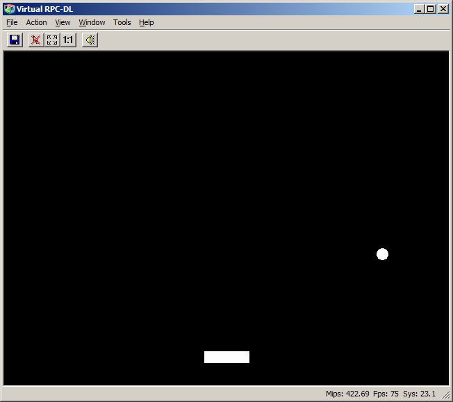 Bat and ball - running in VirtualRiscPC, built with JFPatch-as-a-service