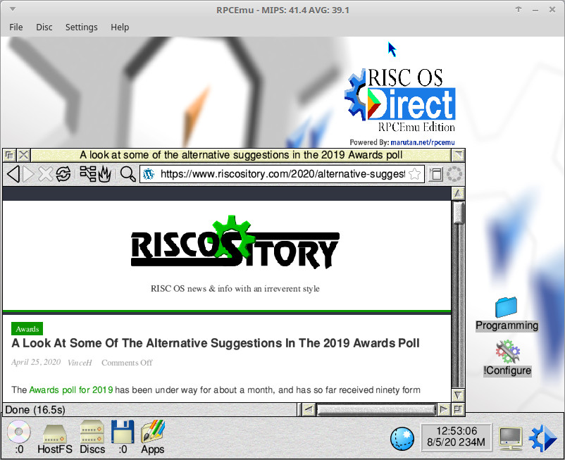 RISC OS Direct running in RPCEmu (on a Linux Mint PC)