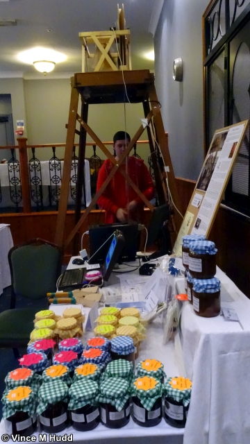 John Norris' bell ringing set up, and Mary Norris' Tasty Treats at Southwest 2020