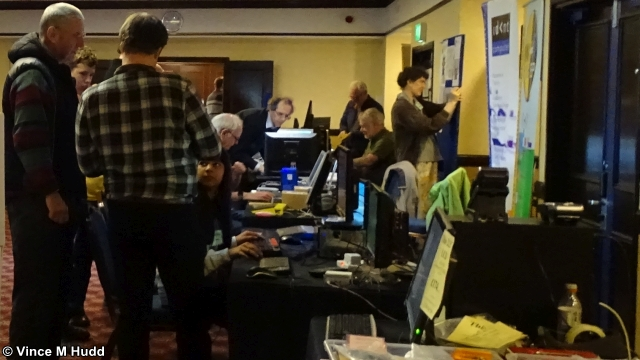 A busy moment in the RISC OS room at Wakefield 2019