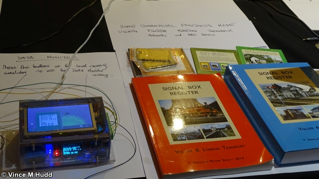 Chris Hall's data monitor and some of his books at Wakefield 2019