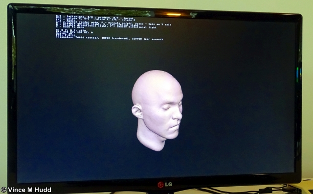Rendering a human head with the 3D engine at London 2019